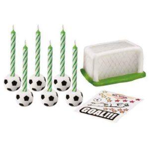 Kerzen - Kuchenaufsatz Motiv Fußball Set