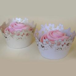 Cupcake Wrapper - Blumen Weiß